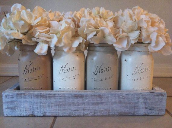clearance clothing Rustic Mason Jar and wood box table Centerpiece wedding shabby chic distressed vase Neutral Colors via Etsy