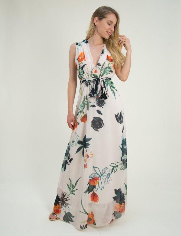 Γυναικείο μάξι φόρεμα εμπριμέ μπεζ άνοιγμα στήθος πλατη 8214318Q  kalokairi   royxa  gynaikeia   17c8ba7576c
