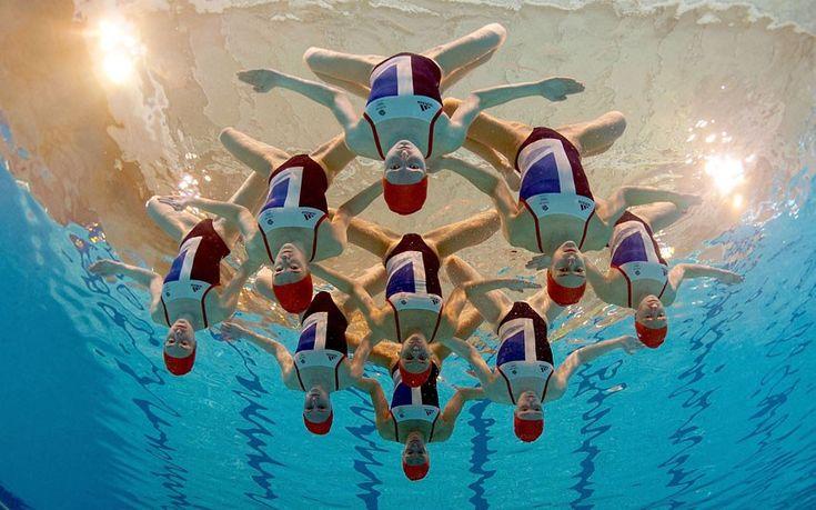 The Great Britain Synchronised Swimming team pose at Garrison Sports Centre in Aldershot after the announcement of the team for the London 2012 Olympic Games