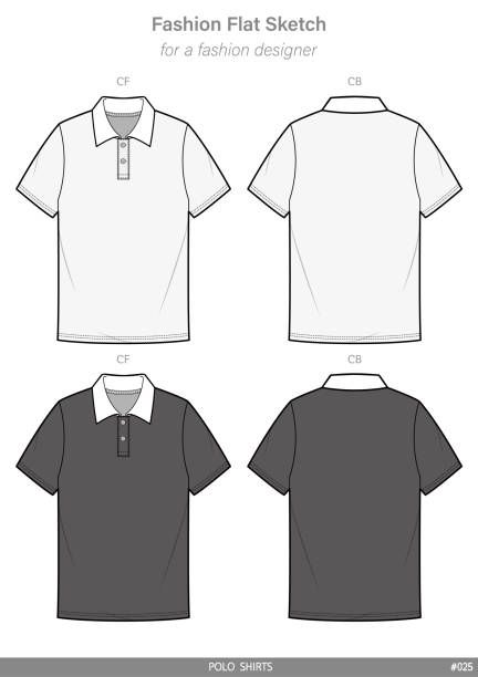 Polo Shirts Fashion Flat Technical Drawing Vector Template Art Ilration