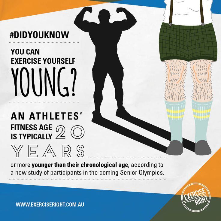 #DidYouKnow  you can #Exercise yourself #Young?  #ExerciseScience #FountainofYouth #ExerciseRight #SportsScience #SeniorAthletes #Study #Infographic