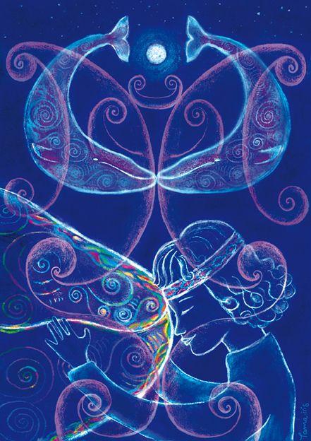 Whale Rider (ilustración para Minima Revis) #whales #illustration #tamairis #blue #moon #waitaha #mahori #kiss
