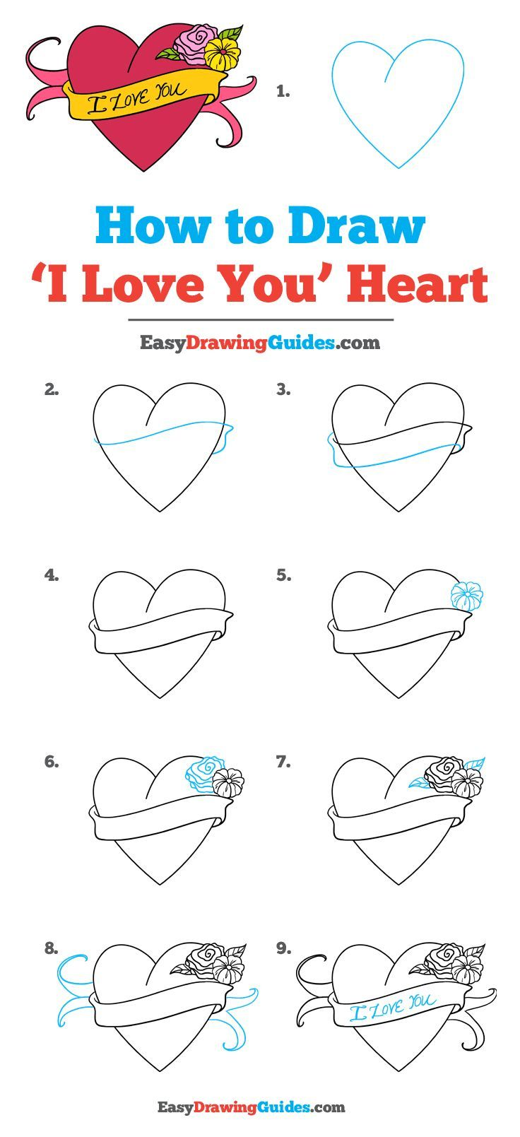 How To Draw An I Love You Heart Really Easy Drawing Tutorial Easy Heart Drawings Drawing Tutorial Easy I Love You Drawings