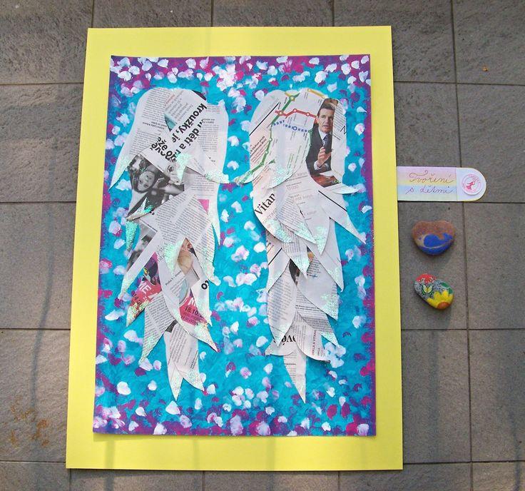 ANDĚLSKÁ KŘÍDLA * angel wings * Podkladová #malba a andělská křídla z #ústřižků starých #novin. Špičky papírových per jsme #ozdobili třpytkami a nalepili na malbu tuhým lepidlem. * #wings #painting #creative #newspaper #kids