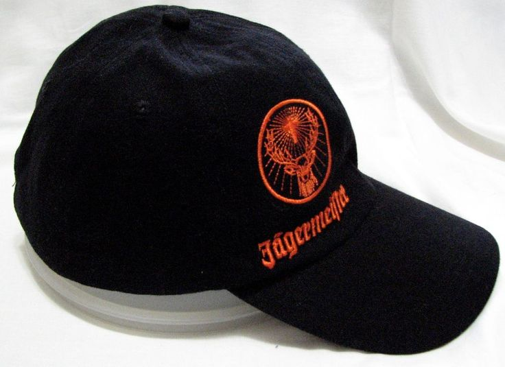 Jagermeister Black Orange Baseball Hat Adjustable Cap Deer Stag Cross Logo  #Jagermeister