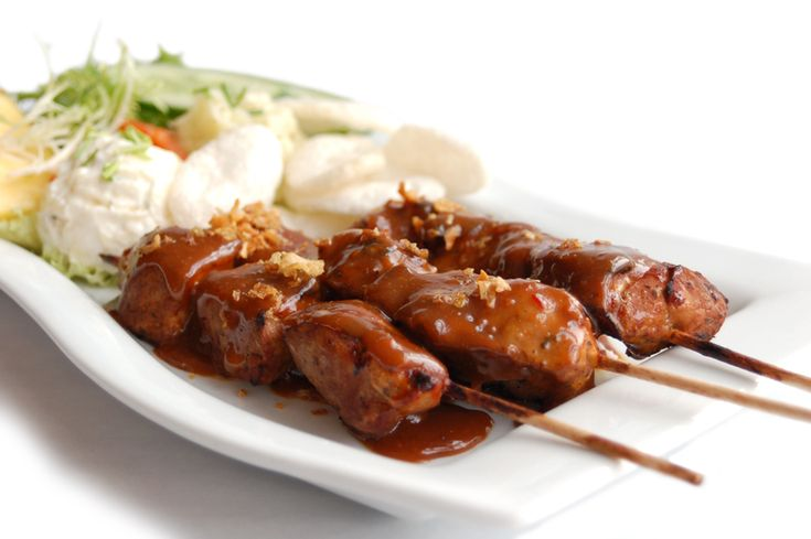 Sate, chicken barbeque with peanut sauce. Barack Obama liked this food during his childhood in Jakarta...