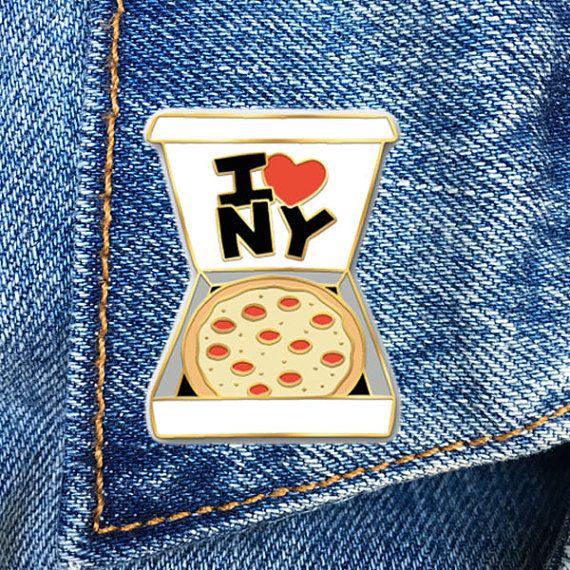 NY Pizza Pin, I Heart NY, Enamel Pin, Soft Enamel Pin, Jewelry, Art, Gift (PIN36)