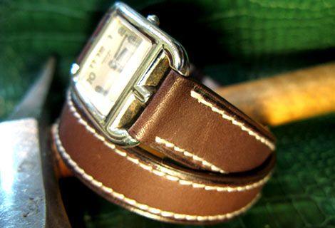 Bracelet montre double tour en veau mat ABP pour une montre Hermes Cape Cod