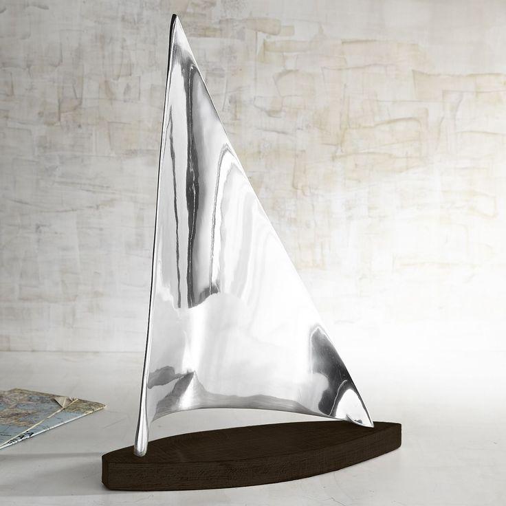 Modern Sailboat Sculpture - Silver