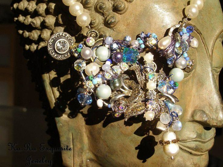 Barock necklace with upcycled and vintage components, in blue, green and turquoise pearls glass swarovski crystal rhinestone by KaRaExquisiteJewelry on Etsy