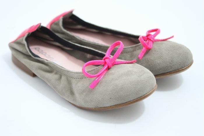 Eli ballerina beige suede met neon pink details