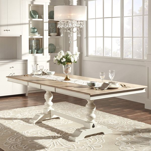 Tribecca Home McKay Country Antique White Pedestal Extending Dining... ($991) ❤ liked on Polyvore featuring home, furniture, tables, dining tables, butterfly leaf dining sets, antique white dining table, extendable dining table, rectangular extension dining table and rectangular dining table