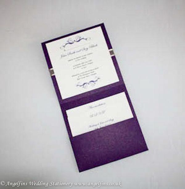 17 best images about purple wedding stationery on for Pocketfold wedding invitations scotland