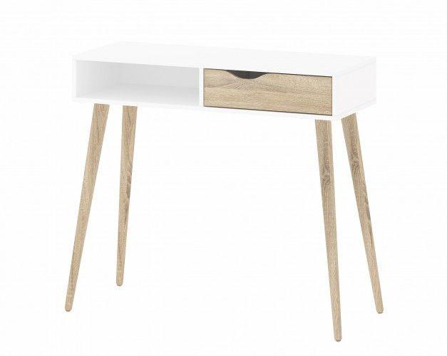 Delta - toaletní stolek, 1x zásuvka (bílá/dub) | OKAY.cz