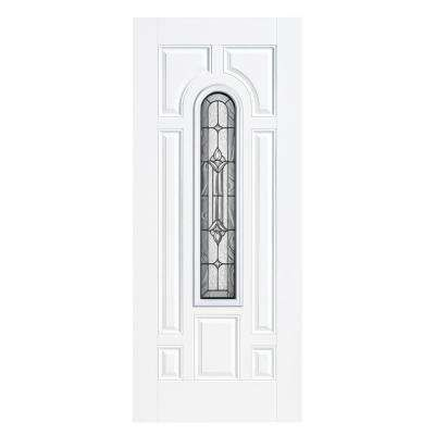 36 in. x 80 in. Providence Center Arch Primed Smooth Fiberglass Prehung Front Door with No Brickmold