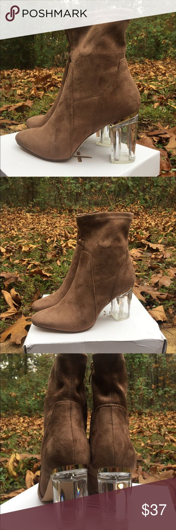 Clear heeled high ankle perspex boots. Brand new with box. Never worn. Women's size 8.5  Color: Taupe Shoes Ankle Boots & Booties