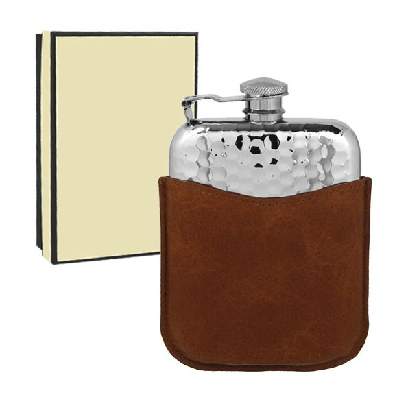 [PLF04] 6oz Pewter Hammered Flask in leather Pouch | Hipflask Company - The UK's leading supplier of quality Hip Flasks