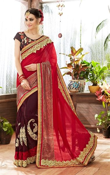 Picture of Ravishing Brown Party Wear Saree