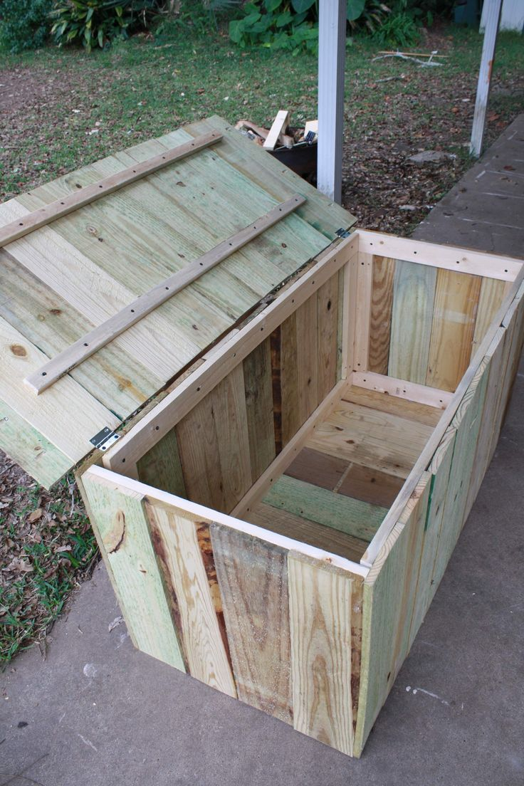 Storage For Pool. Easy To Build, I Think The Bottom Would Have More Holes ·  Deck Storage BenchOutdoor ...