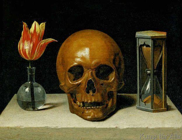 Natura morta con teschio-1671-Philippe de Champaigne- (Vanitas)- olio su pannello- Musée de Tessé-Le Mans, Francia