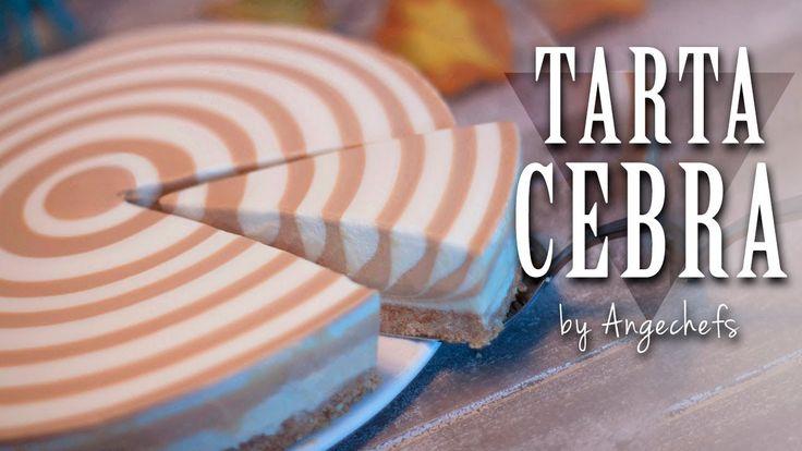 Tarta Cebra de Queso, Yogur y Dulce de Leche · Receta Fácil y Rápida