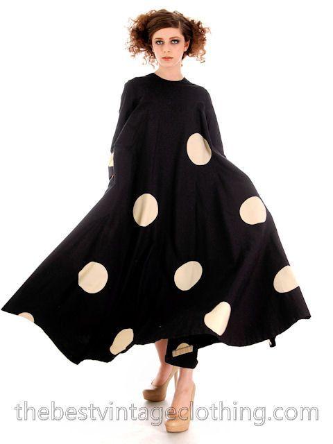 Vintage Mod Trapeze Dress Vuokko Nurmesniemi Black /White Polka Dots 36 – The Best Vintage Clothing