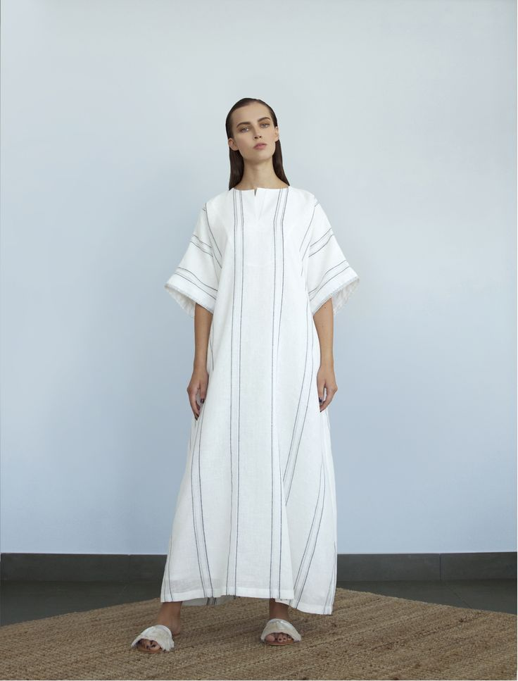BOUGUESSA Cruise/Ramadan 2015 Collection - White Striped Linen Jalabiya