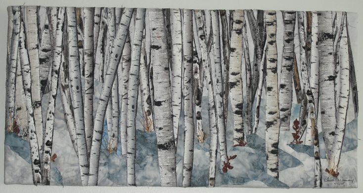 #Birch Trees in Snow 3, fabric collage, thread painted, mounted on canvas.  Designed by Chris Allaway for sale