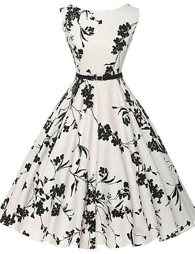 Mulheres Bainha / Rodado Vestido,Casual Vintage / Simples Floral Decote Redondo Altura dos Joelhos Sem Manga Branco AlgodãoTodas as de 4949459 2016 por $18.99