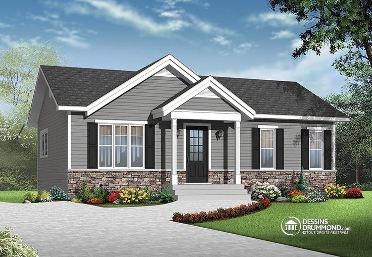 Plan de Maison unifamiliale W3137, joli bungalow à prix abordable et espace ouvert. 2 chambres sur l'étage. #craftsman #artisanal #champêtre