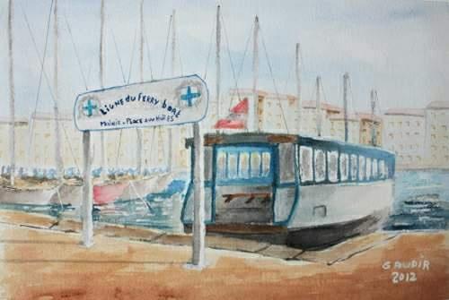 "© Gaudir13 ""Ferry-boat à l'embarcadère"" Aquarelle 34 x 23 cm"