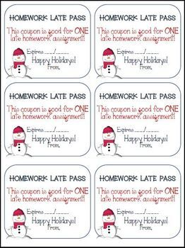 Free - Happy Holidays Late Homework Coupon & Writer's Checklist