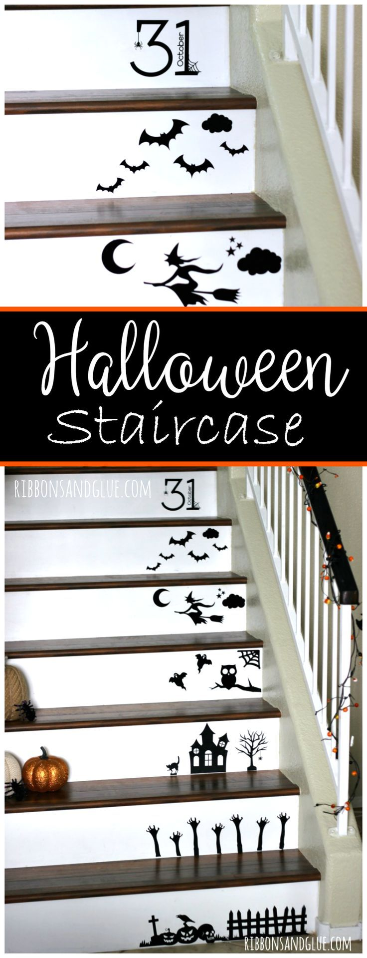 Create a Halloween Staircase by adhering black vinyl Halloween shapes down the stairs. Easy Halloween Decor idea.