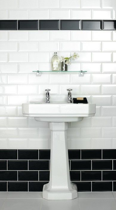 Metro Bevelled Edge Tile Black 150mmx75mm