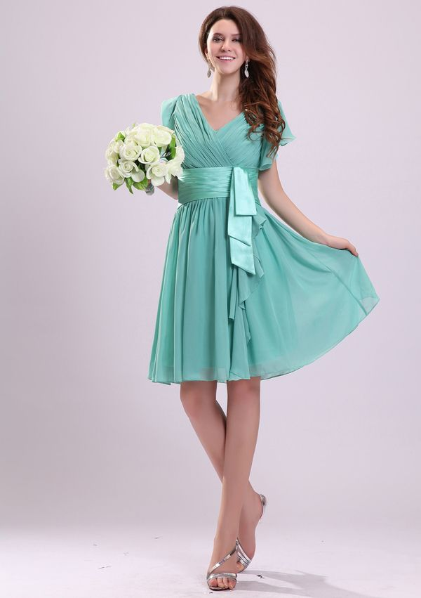 Captivating V-neck Zipper Sash Bridesmaid Dresses