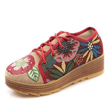 Embroidered Flower Platform Lace Up Folkways Casual Shoes - US$26.89