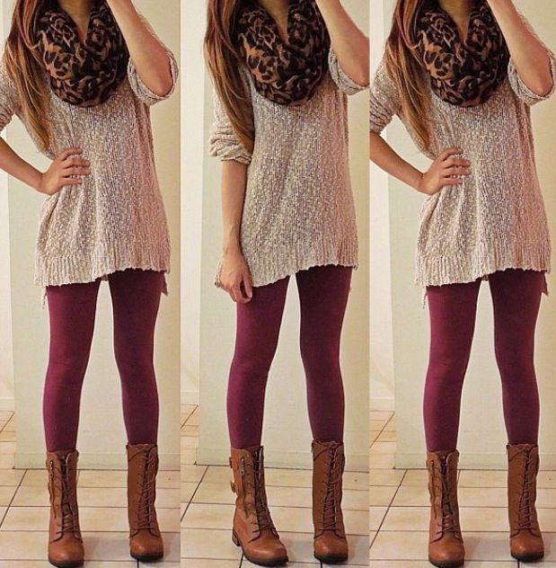 Maroon leggings with tan top and patterned scarf. I love it! Must find some maroon leggings!