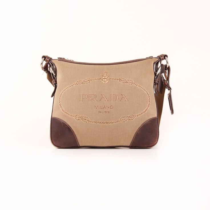 Prada Apricot fabric Dark Coffee leather Messenger Bag.