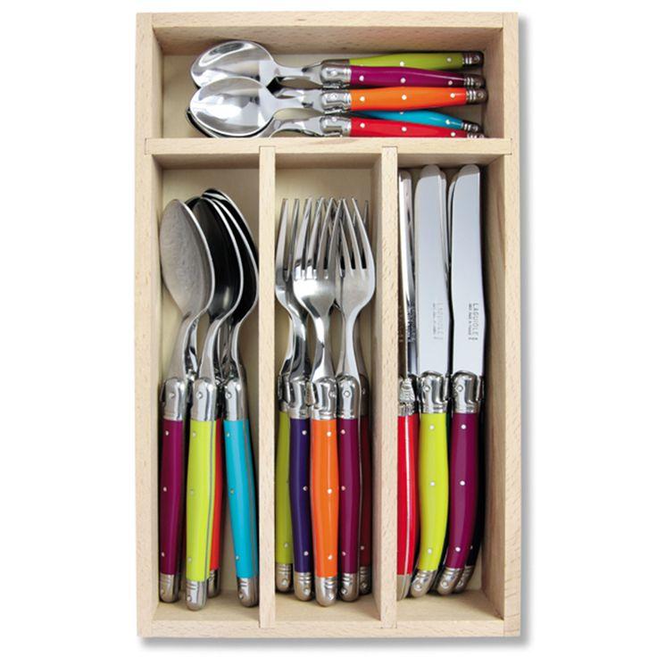 Laguiole Multicoloured 24 Piece Cutlery Set   Unique Home Living