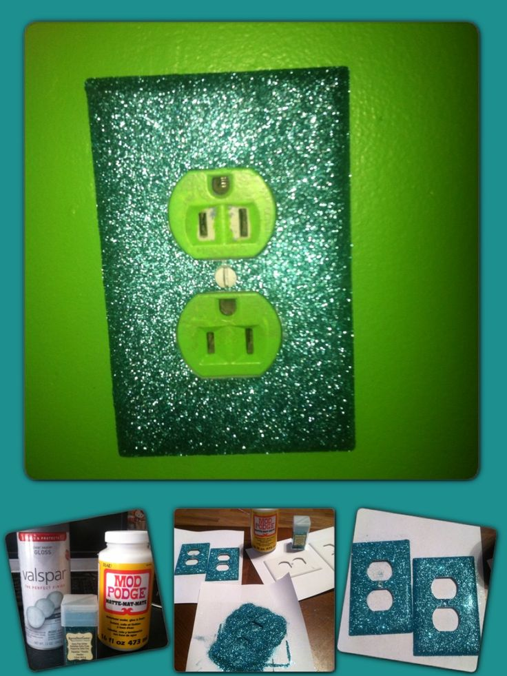 Glitter Outlet Cover - easy to do and cheap. Mod Podge, glitter of your choice, and a sealer. I used teal glitter to go with lime green walls. Perfect for teen rooms, nursery, dorm rooms! I made these for my daughters room.