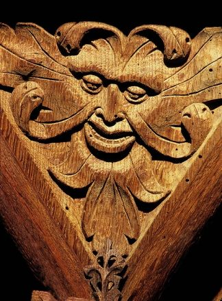 Green Man on a screen in the church at Marwood, Devon, England (photo P.W. Jewitt)