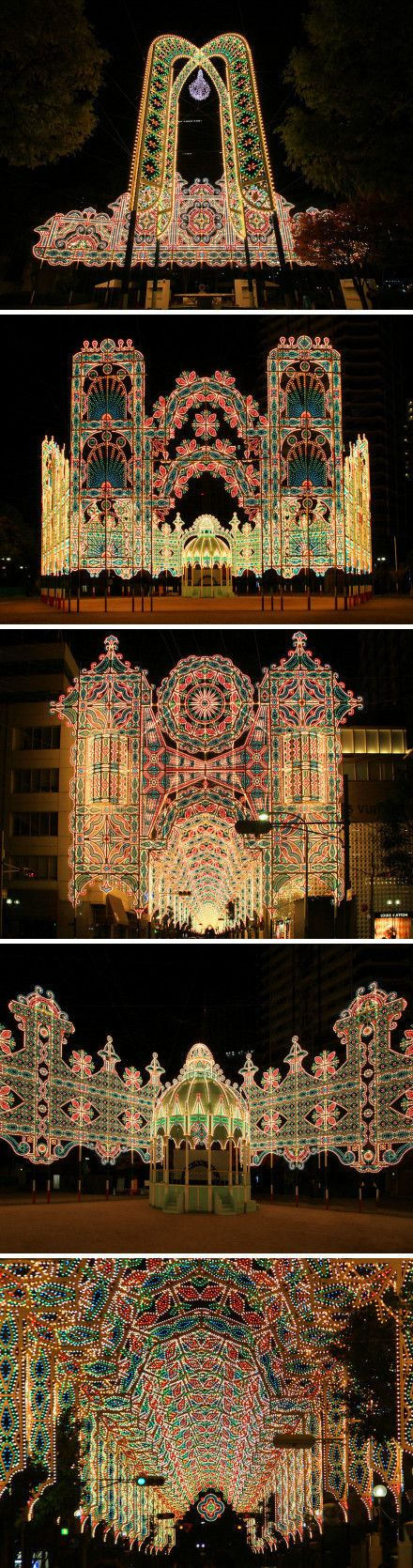 Kobe, Japan.  Kobe Luminarie Festival, in commemoration of the Great Hanshin Earthquake of 1995.