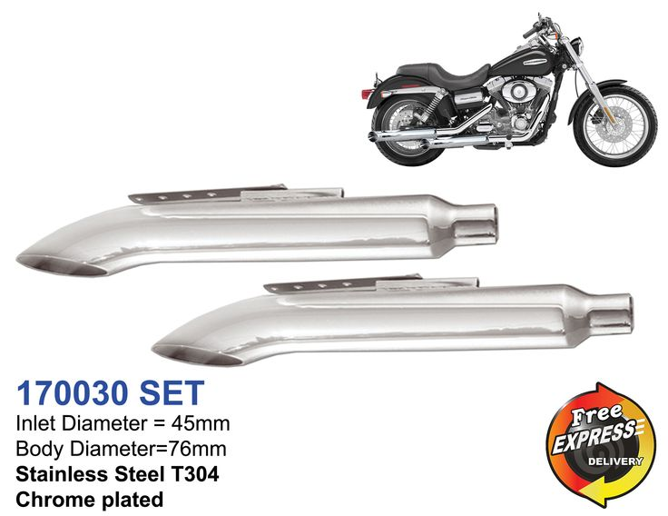 Universal motorcycle mufflers set curved for Chopper S/steel chrome plated