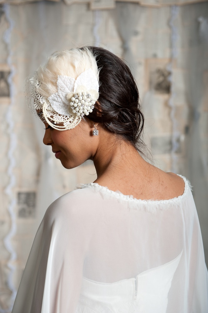 Image of Feather bridal hat - Coco