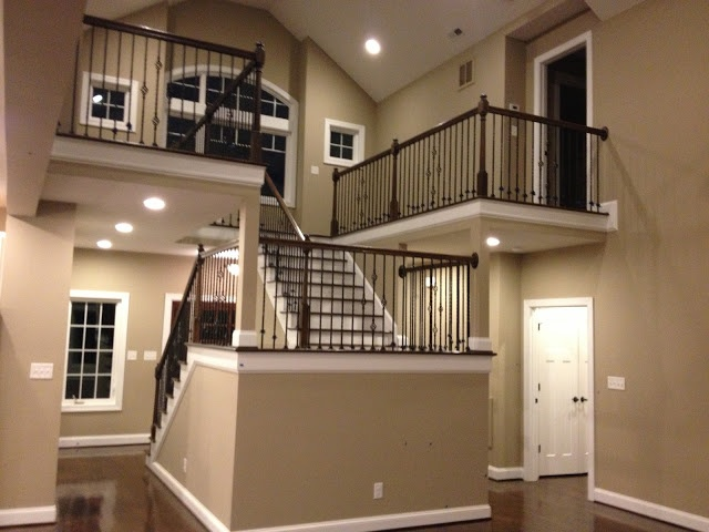 Stairway in house on Smith Mountain Lake by Wellington Builders, Inc.