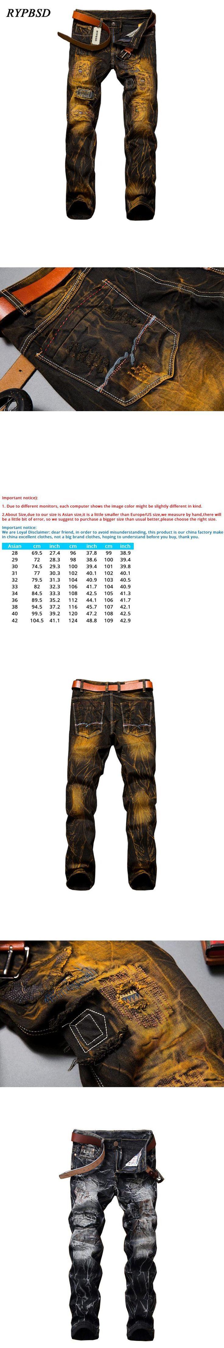 2017 Fashion Vintage Biker Ripped Jeans Men Slim Hip Hop Denim Patch Distressed Jeans Joggers Male Straight Trousers Size 28-42