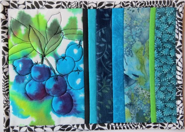 Free motion stitching on my hand painted fabric: Blueberries