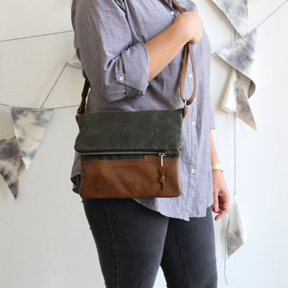Waxed Canvas and Leather Foldover Crossbody Bag Olive / Handmade Leather and Canvas Purse / Foldover Bag with Strap