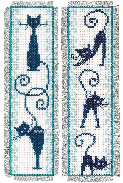 Buy Cheerful Cats Bookmarks Cross Stitch Kit Online at www.sewandso.co.uk