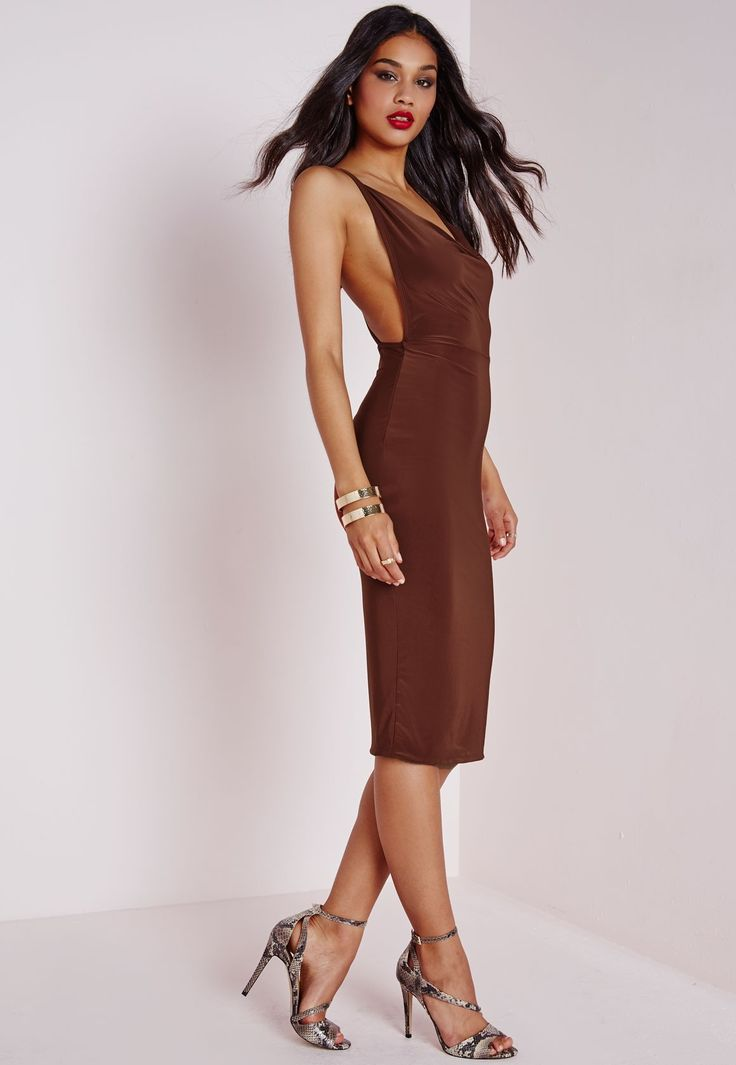 Go for a dark brown bodycon dress for a standout ensemble. Take a classic approach with the footwear and go for a pair of grey snake leather heeled sandals.   Shop this look on Lookastic: https://lookastic.com/women/looks/dark-brown-bodycon-dress-grey-leather-heeled-sandals-gold-bracelet/22888   — Dark Brown Bodycon Dress  — Gold Bracelet  — Grey Snake Leather Heeled Sandals